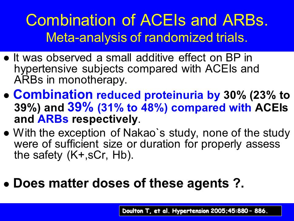 Combination of ACEIs and ARBs. Meta-analysis of randomized trials.