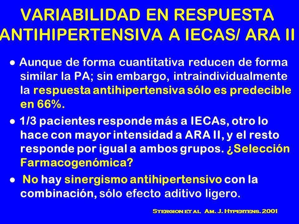 VARIABILIDAD EN RESPUESTA ANTIHIPERTENSIVA A IECAS/ ARA II