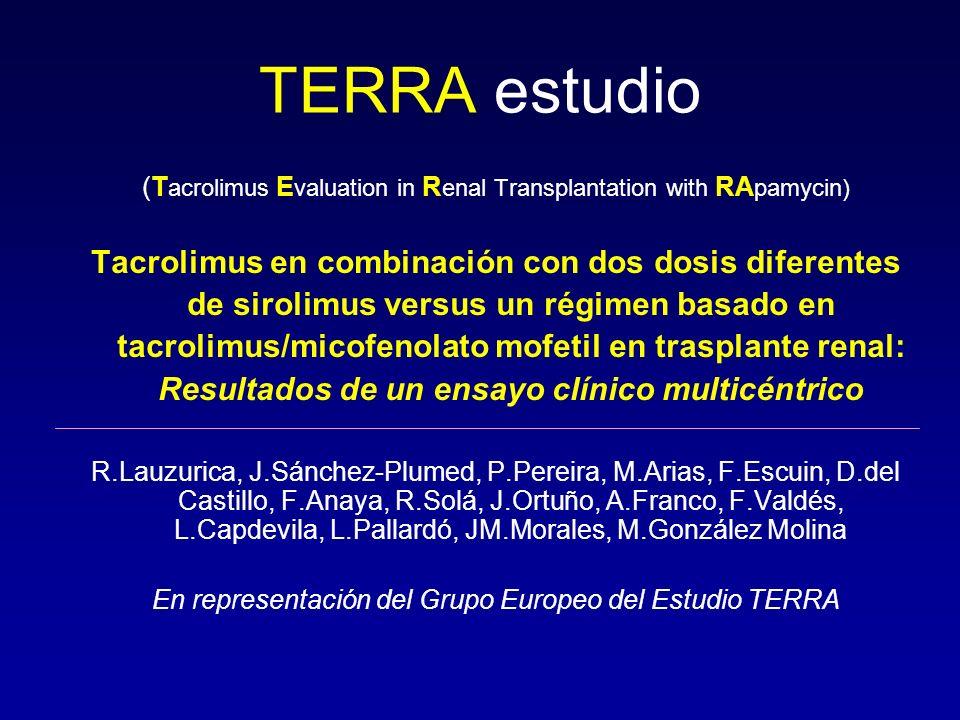 TERRA estudio(Tacrolimus Evaluation in Renal Transplantation with RApamycin)