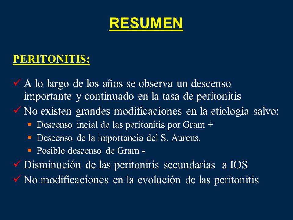 RESUMEN PERITONITIS: A lo largo de los años se observa un descenso importante y continuado en la tasa de peritonitis.