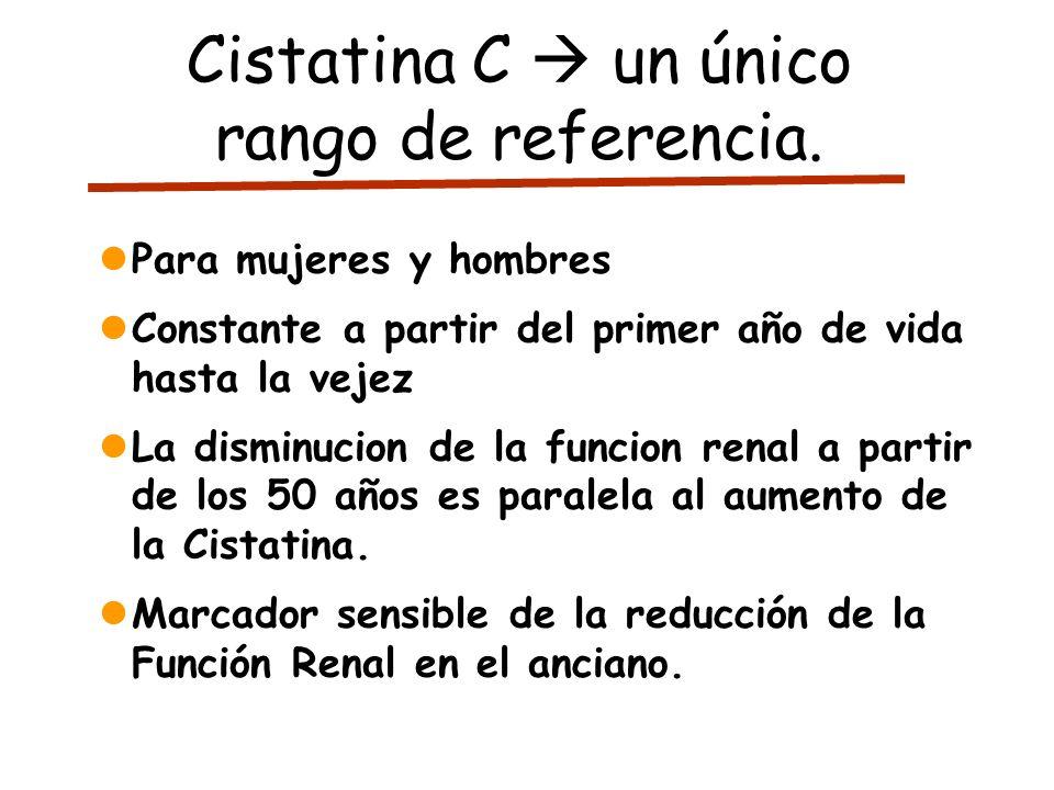 Cistatina C  un único rango de referencia.