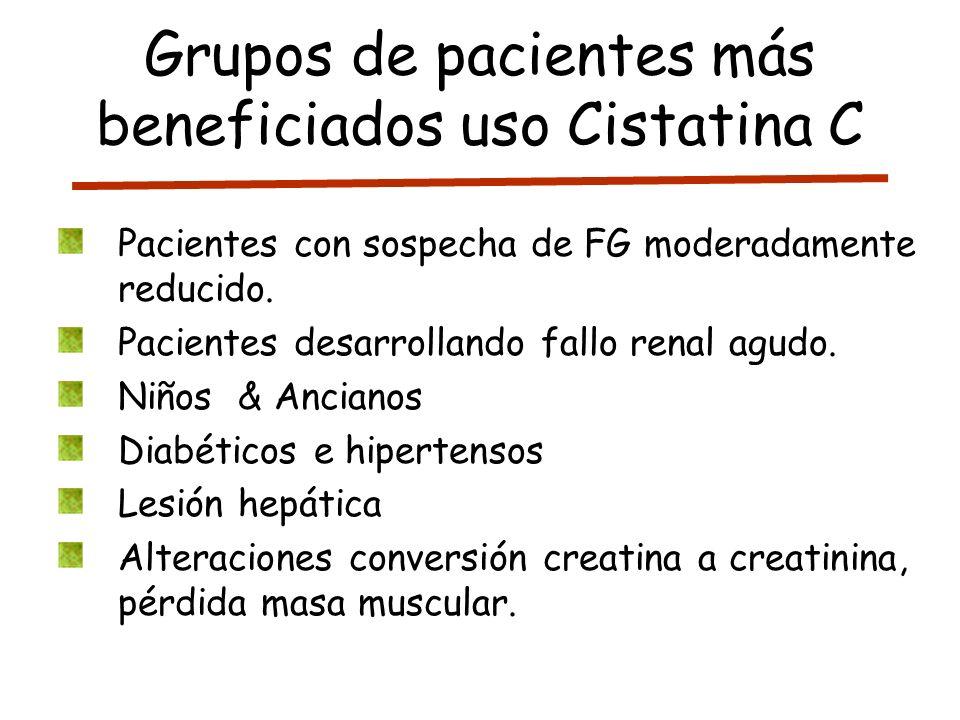 Grupos de pacientes más beneficiados uso Cistatina C