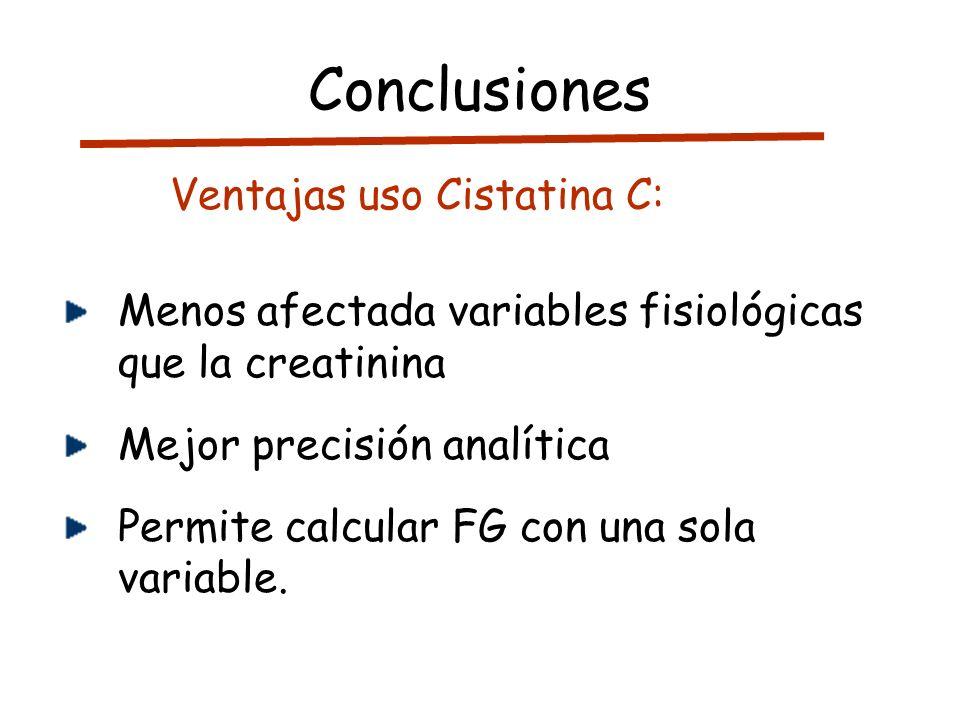 Conclusiones Ventajas uso Cistatina C: