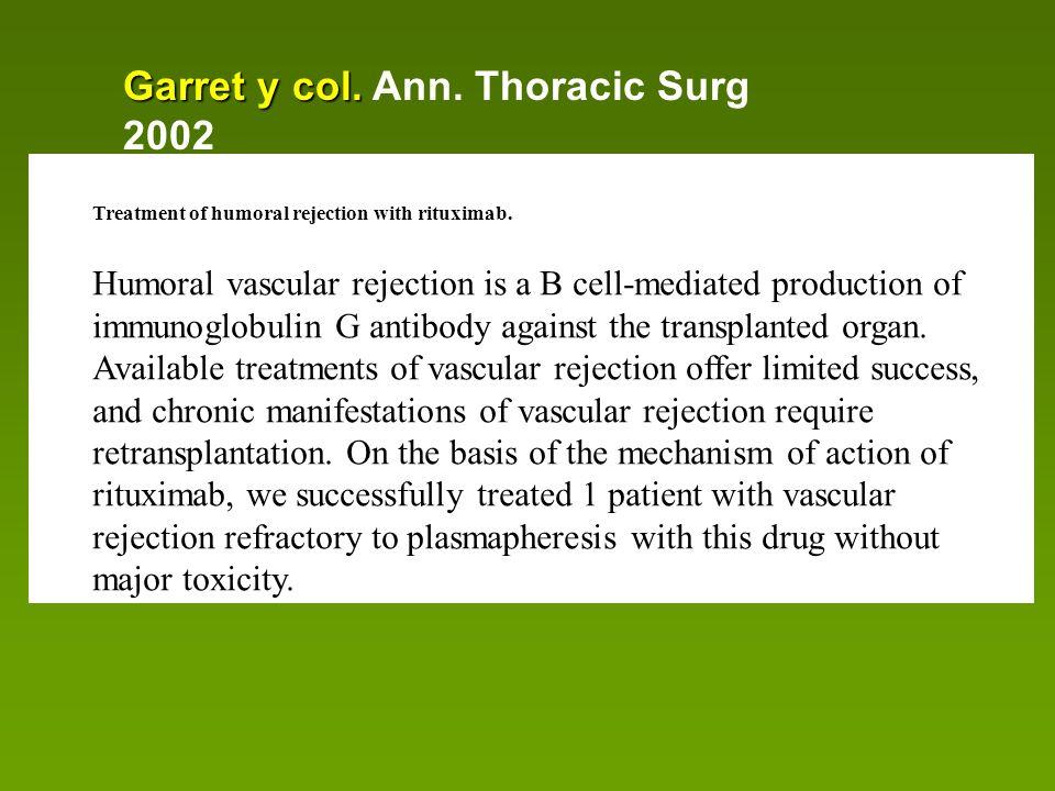Garret y col. Ann. Thoracic Surg 2002