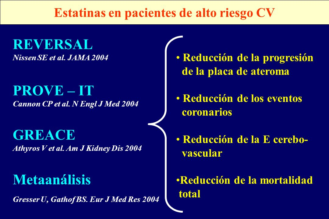 Estatinas en pacientes de alto riesgo CV
