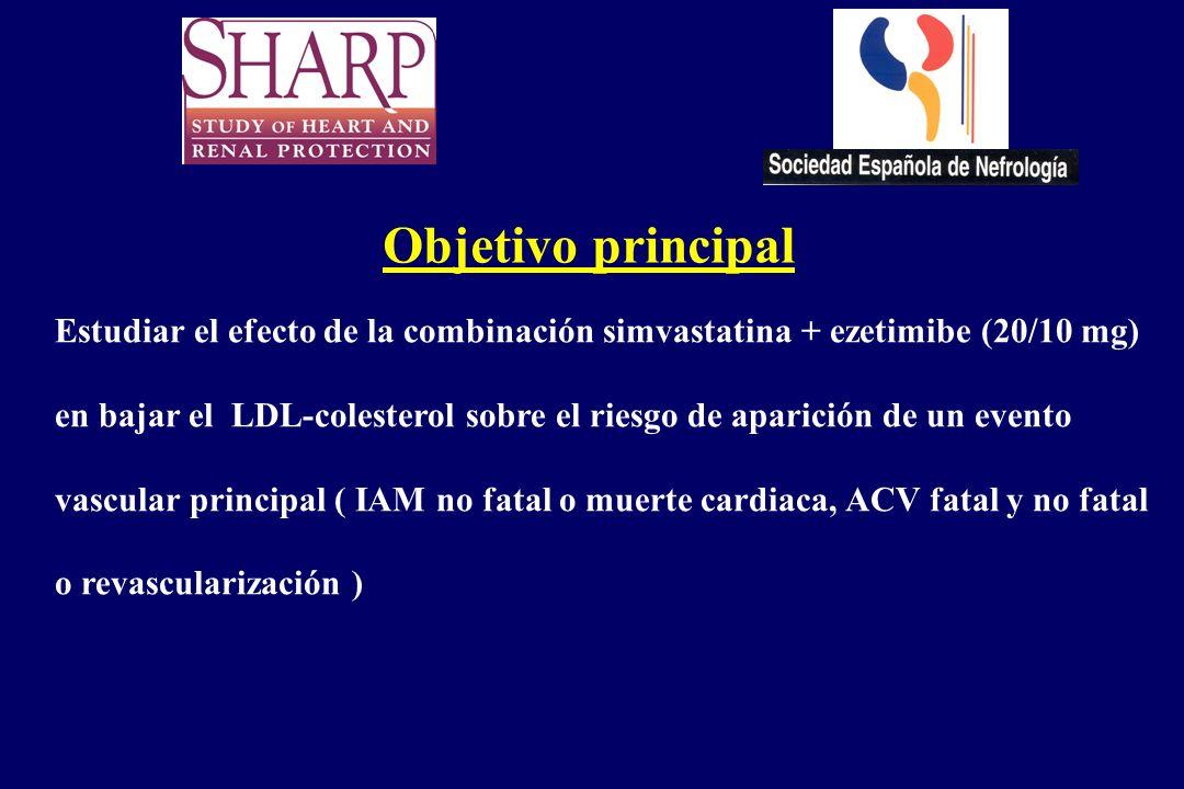 Objetivo principal Estudiar el efecto de la combinación simvastatina + ezetimibe (20/10 mg)