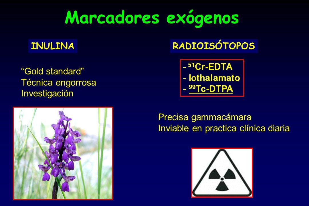 Marcadores exógenos INULINA RADIOISÓTOPOS 51Cr-EDTA Iothalamato