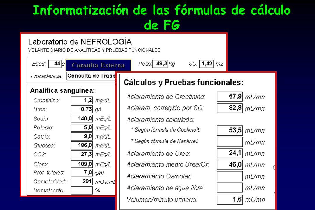 Informatización de las fórmulas de cálculo de FG
