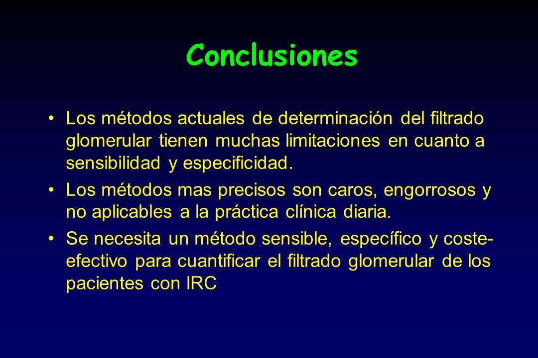 Conclusiones Los métodos actuales de determinación del filtrado glomerular tienen muchas limitaciones en cuanto a sensibilidad y especificidad.