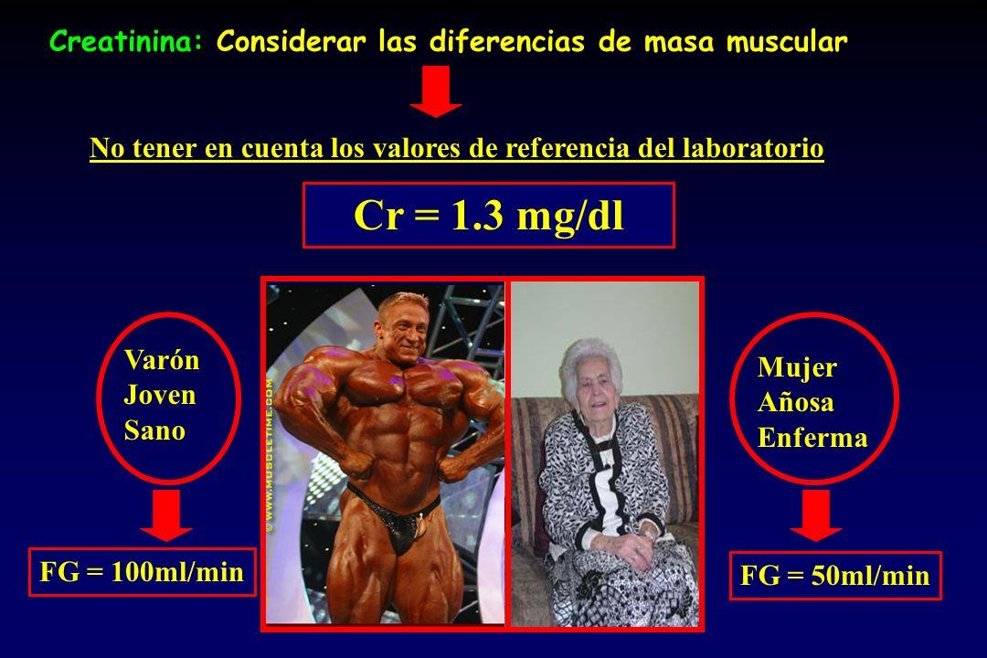 Creatinina: Considerar las diferencias de masa muscular