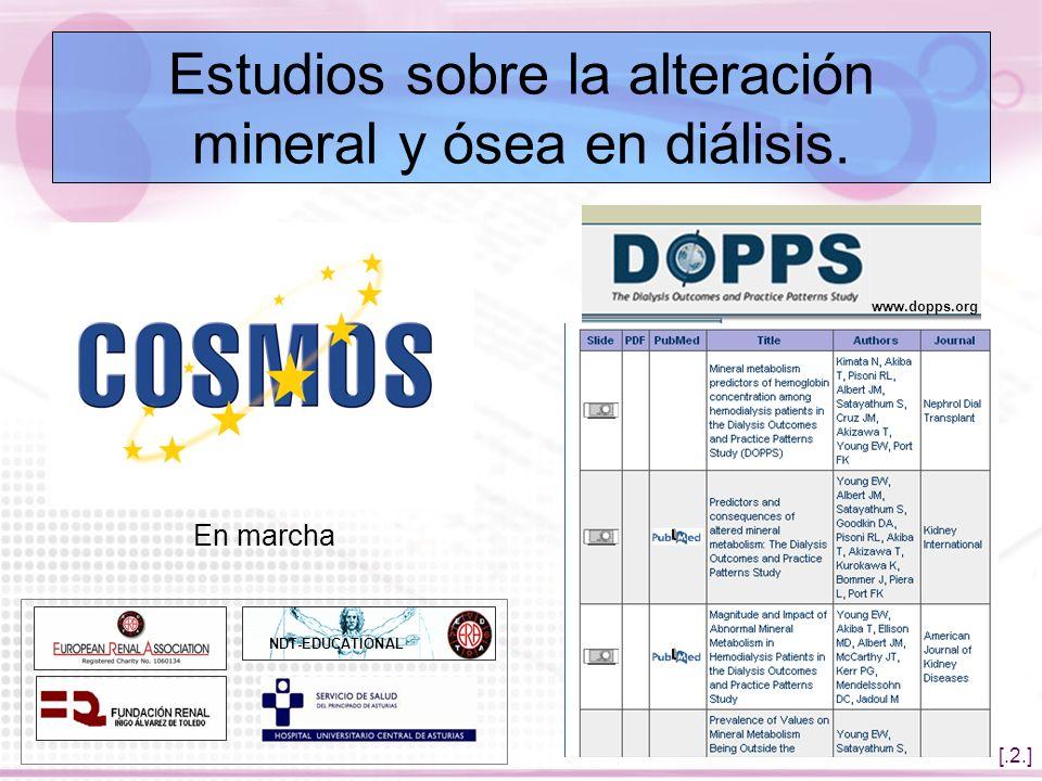 Estudios sobre la alteración mineral y ósea en diálisis.