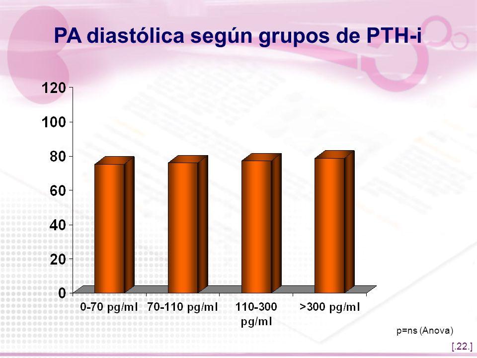 PA diastólica según grupos de PTH-i