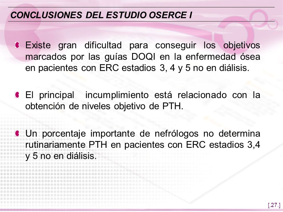 CONCLUSIONES DEL ESTUDIO OSERCE I