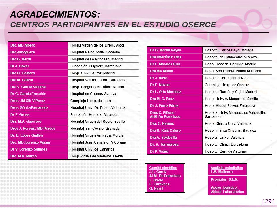 AGRADECIMIENTOS: CENTROS PARTICIPANTES EN EL ESTUDIO OSERCE