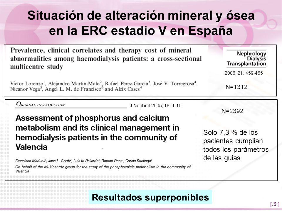 Situación de alteración mineral y ósea en la ERC estadio V en España