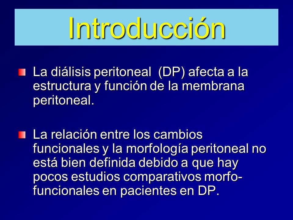 Introducción La diálisis peritoneal (DP) afecta a la estructura y función de la membrana peritoneal.