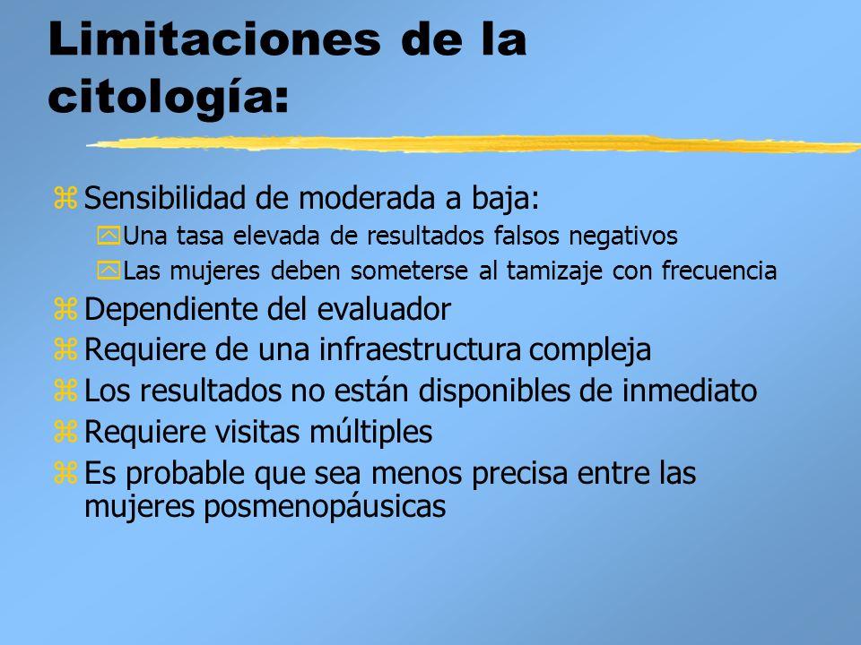 Limitaciones de la citología: