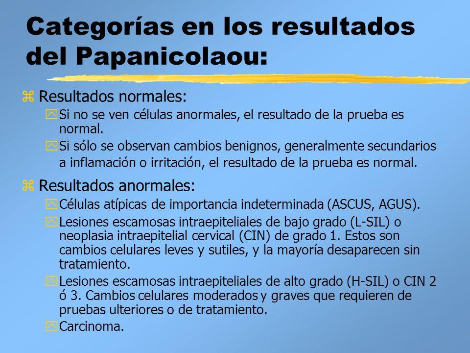 Categorías en los resultados del Papanicolaou: