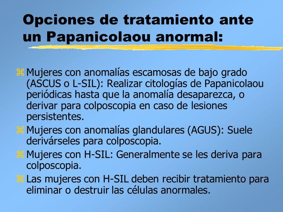 Opciones de tratamiento ante un Papanicolaou anormal: