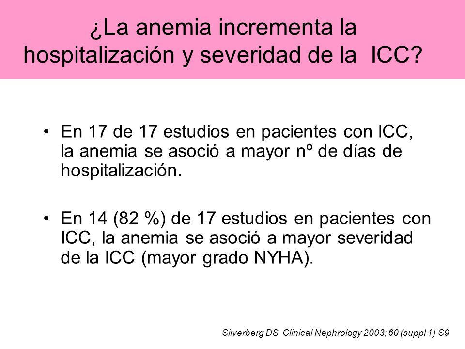 ¿La anemia incrementa la hospitalización y severidad de la ICC