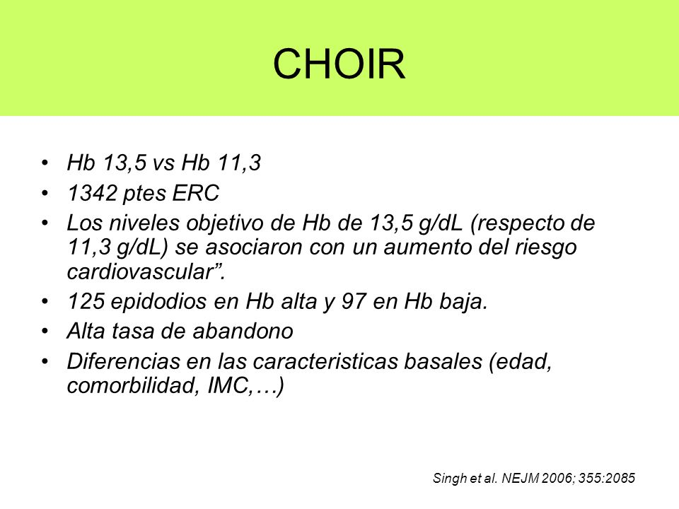 CHOIR Hb 13,5 vs Hb 11,3. 1342 ptes ERC.