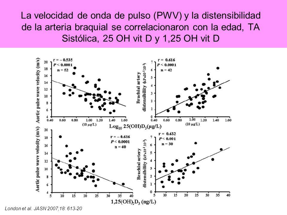 La velocidad de onda de pulso (PWV) y la distensibilidad de la arteria braquial se correlacionaron con la edad, TA Sistólica, 25 OH vit D y 1,25 OH vit D