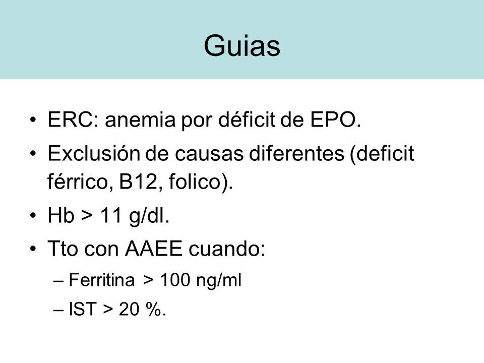 Guias ERC: anemia por déficit de EPO.
