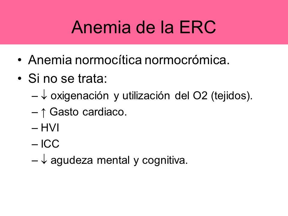 Anemia de la ERC Anemia normocítica normocrómica. Si no se trata: