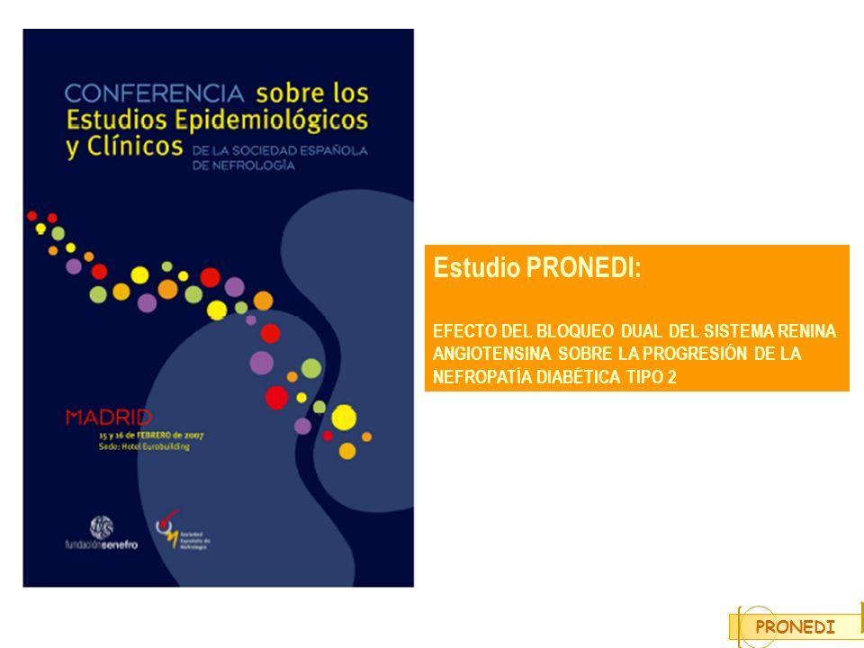 Estudio PRONEDI: EFECTO DEL BLOQUEO DUAL DEL SISTEMA RENINA ANGIOTENSINA SOBRE LA PROGRESIÓN DE LA NEFROPATÍA DIABÉTICA TIPO 2.