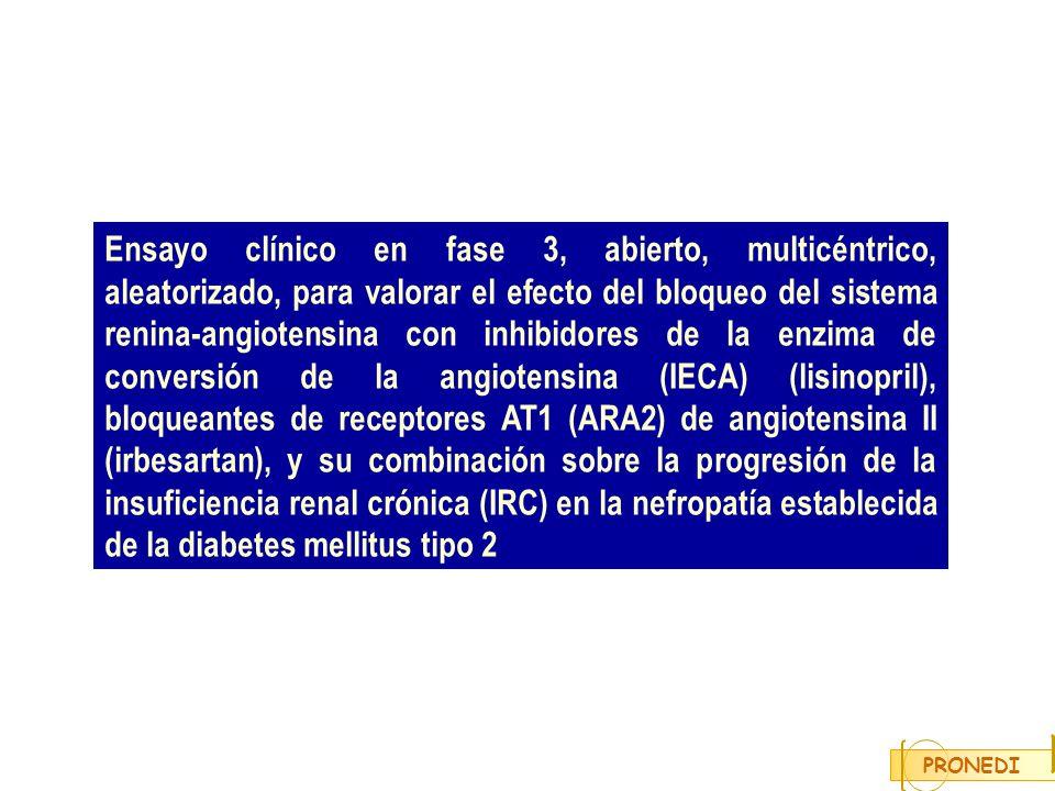 Ensayo clínico en fase 3, abierto, multicéntrico, aleatorizado, para valorar el efecto del bloqueo del sistema renina-angiotensina con inhibidores de la enzima de conversión de la angiotensina (IECA) (lisinopril), bloqueantes de receptores AT1 (ARA2) de angiotensina II (irbesartan), y su combinación sobre la progresión de la insuficiencia renal crónica (IRC) en la nefropatía establecida de la diabetes mellitus tipo 2
