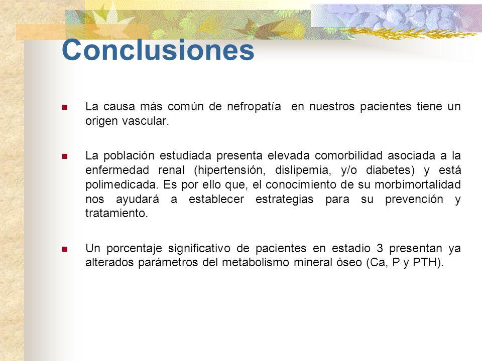 Conclusiones La causa más común de nefropatía en nuestros pacientes tiene un origen vascular.