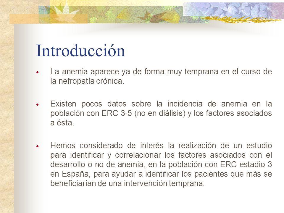 Introducción La anemia aparece ya de forma muy temprana en el curso de la nefropatía crónica.