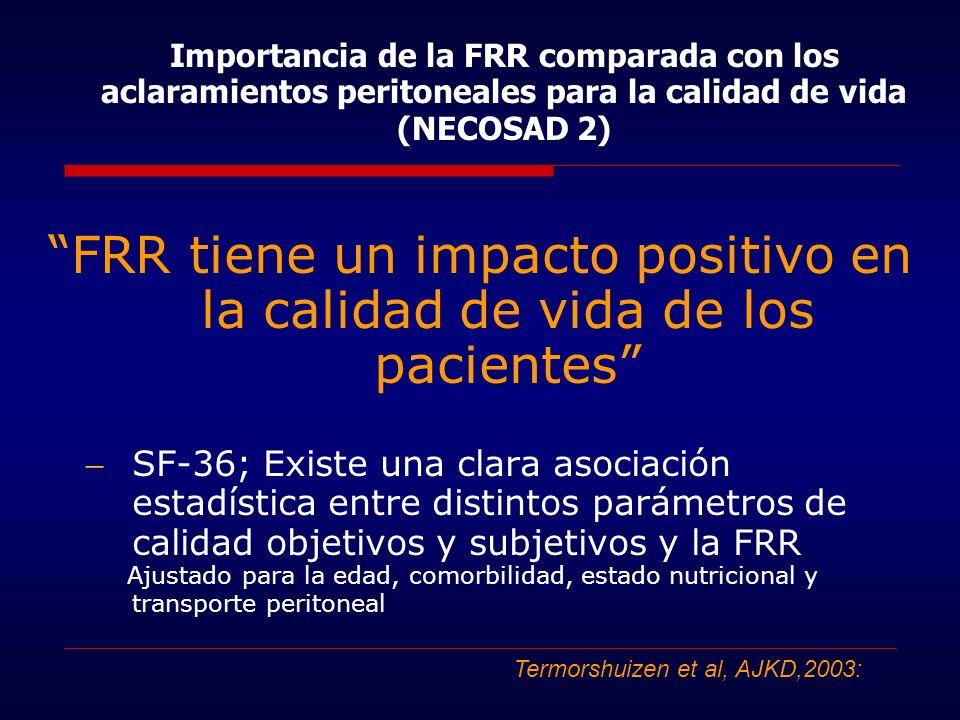 FRR tiene un impacto positivo en la calidad de vida de los pacientes