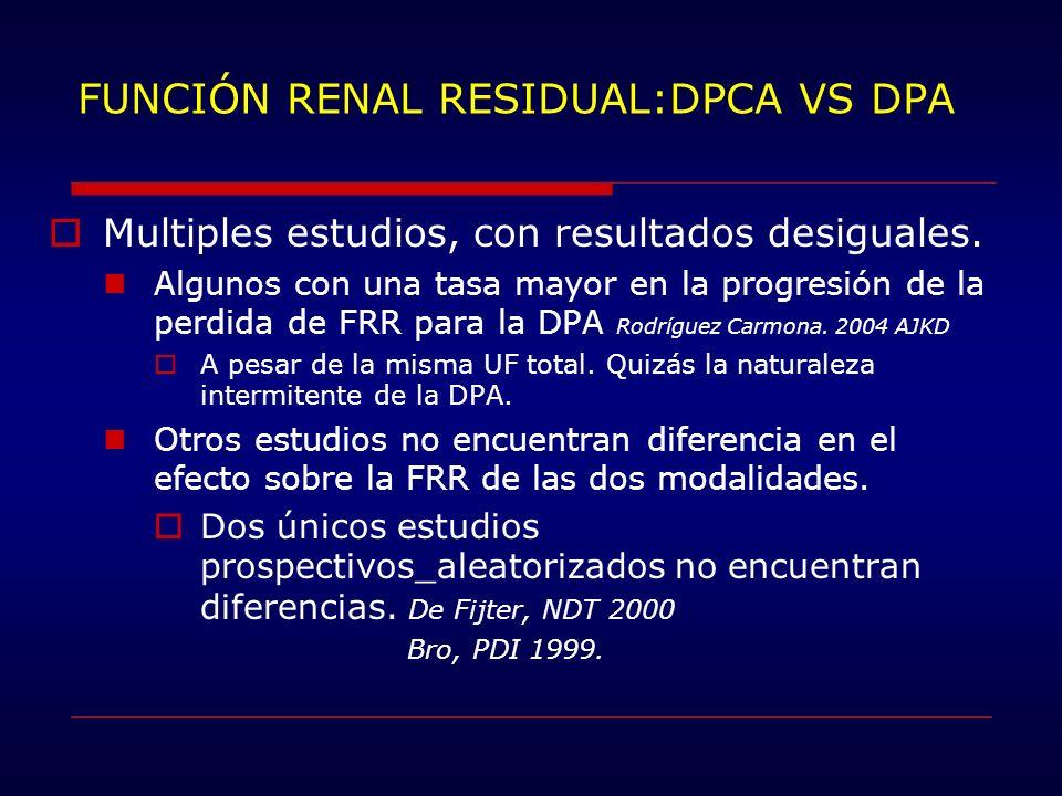 FUNCIÓN RENAL RESIDUAL:DPCA VS DPA
