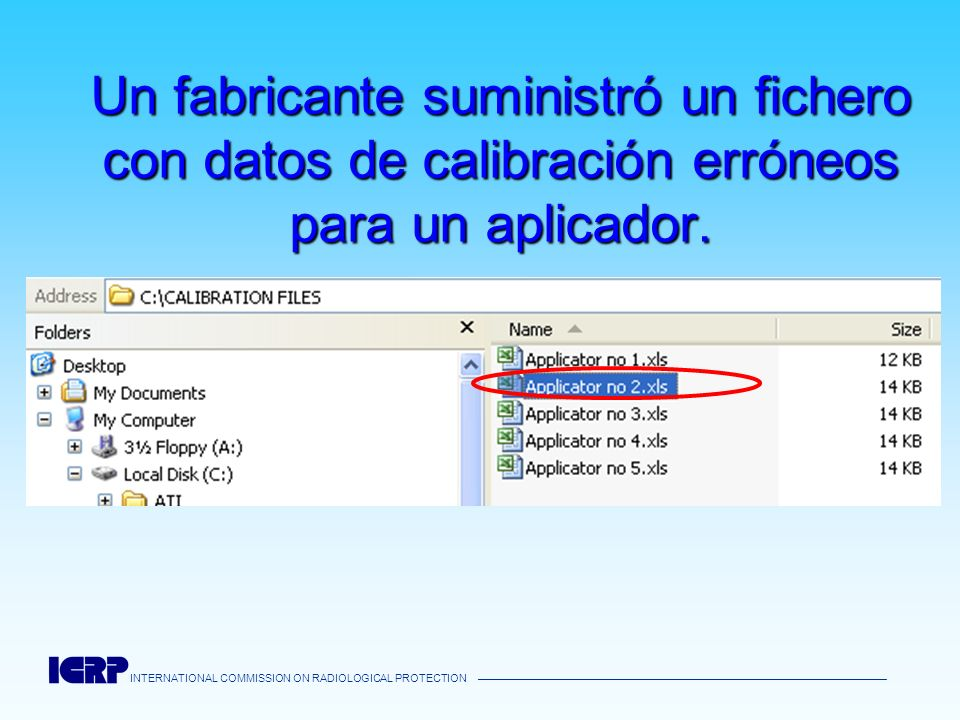Un fabricante suministró un fichero con datos de calibración erróneos para un aplicador.