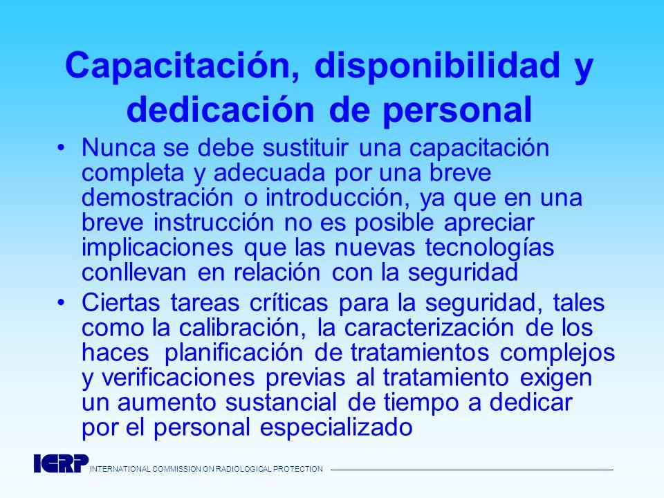 Capacitación, disponibilidad y dedicación de personal