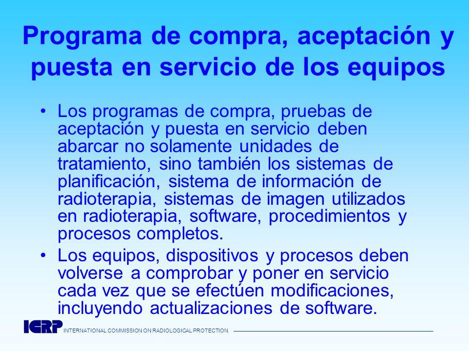 Programa de compra, aceptación y puesta en servicio de los equipos