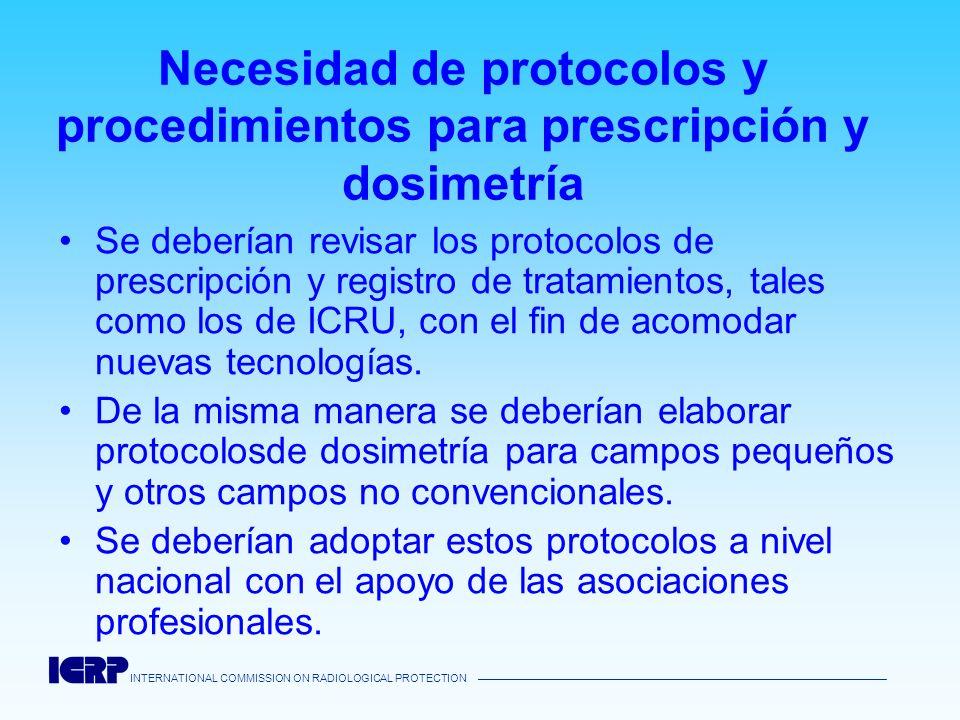 Necesidad de protocolos y procedimientos para prescripción y dosimetría