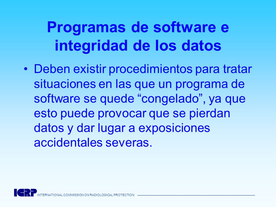 Programas de software e integridad de los datos