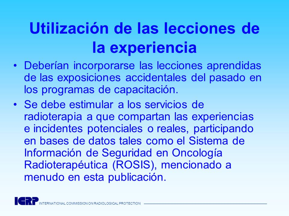 Utilización de las lecciones de la experiencia