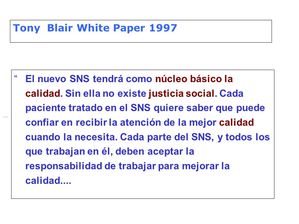 Tony Blair White Paper 1997