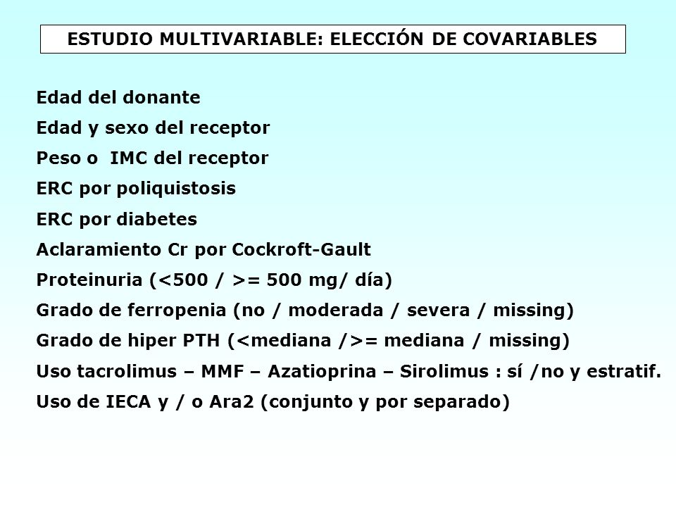 ESTUDIO MULTIVARIABLE: ELECCIÓN DE COVARIABLES