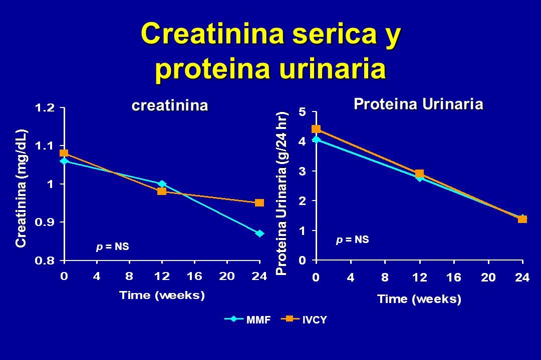 Creatinina serica y proteina urinaria