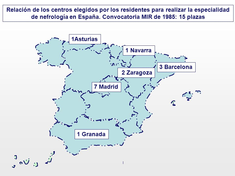 Relación de los centros elegidos por los residentes para realizar la especialidad de nefrología en España. Convocatoria MIR de 1985: 15 plazas