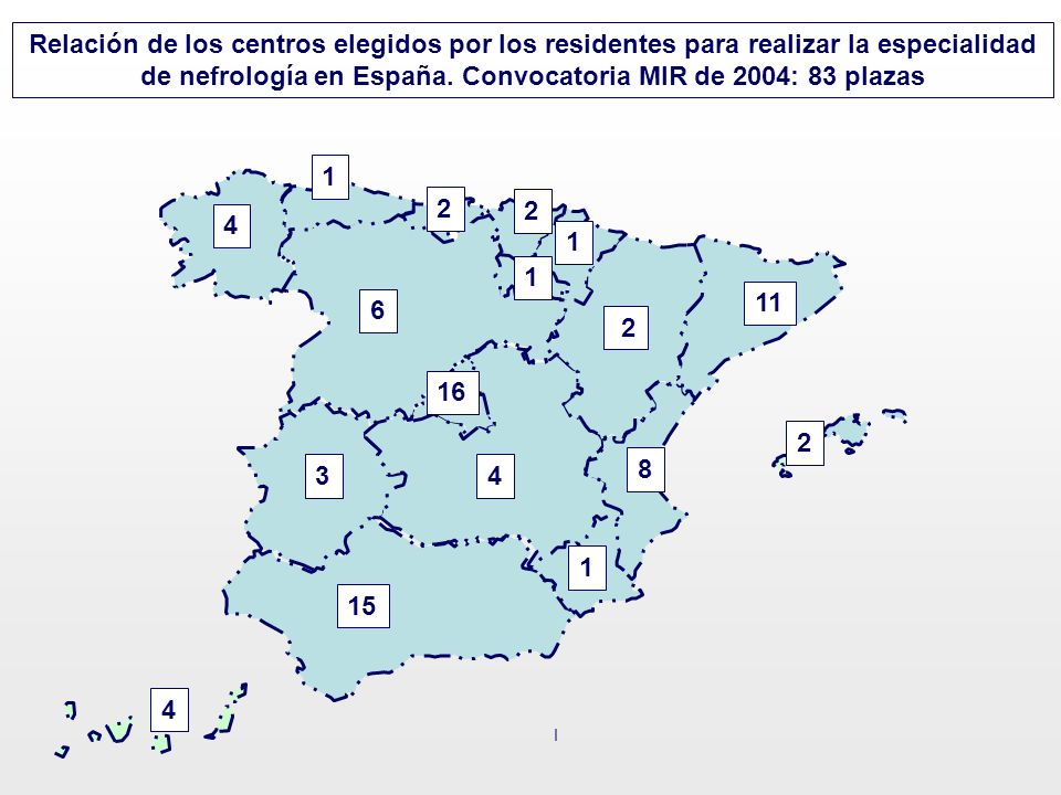 Relación de los centros elegidos por los residentes para realizar la especialidad de nefrología en España. Convocatoria MIR de 2004: 83 plazas