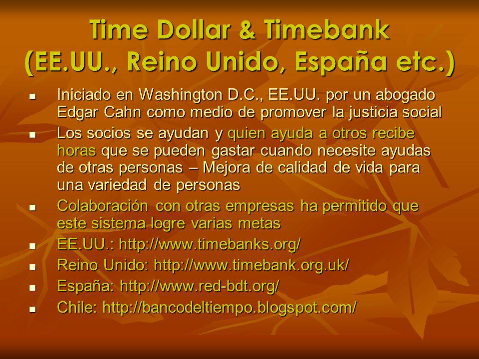 Time Dollar & Timebank (EE.UU., Reino Unido, España etc.)