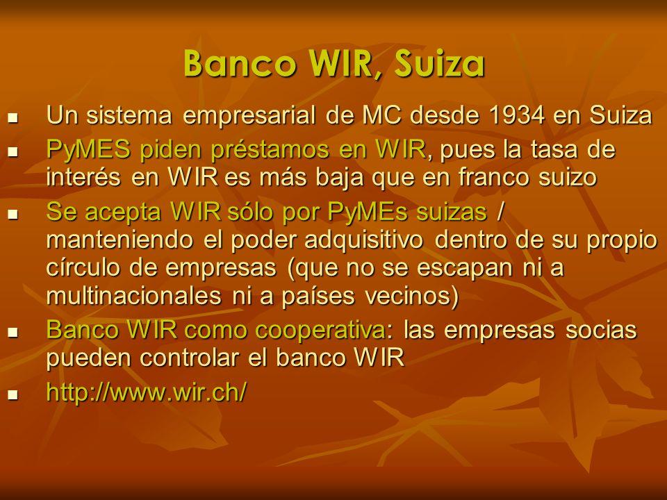 Banco WIR, Suiza Un sistema empresarial de MC desde 1934 en Suiza
