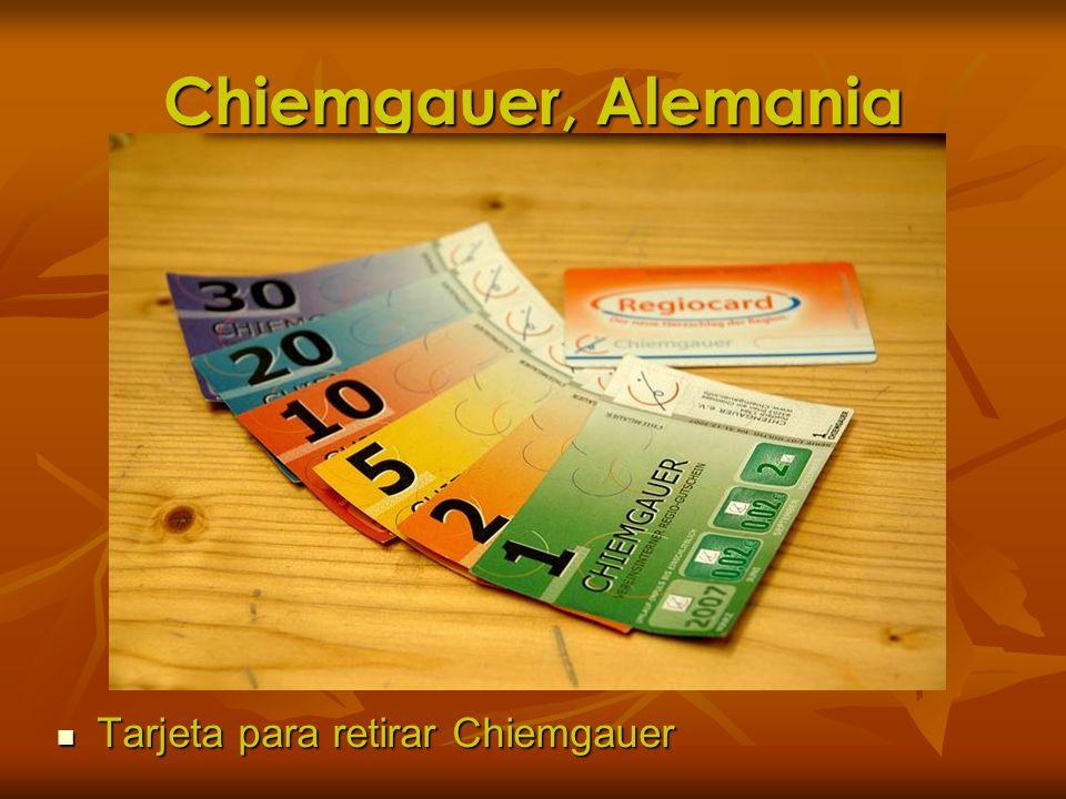 Chiemgauer, Alemania Tarjeta para retirar Chiemgauer