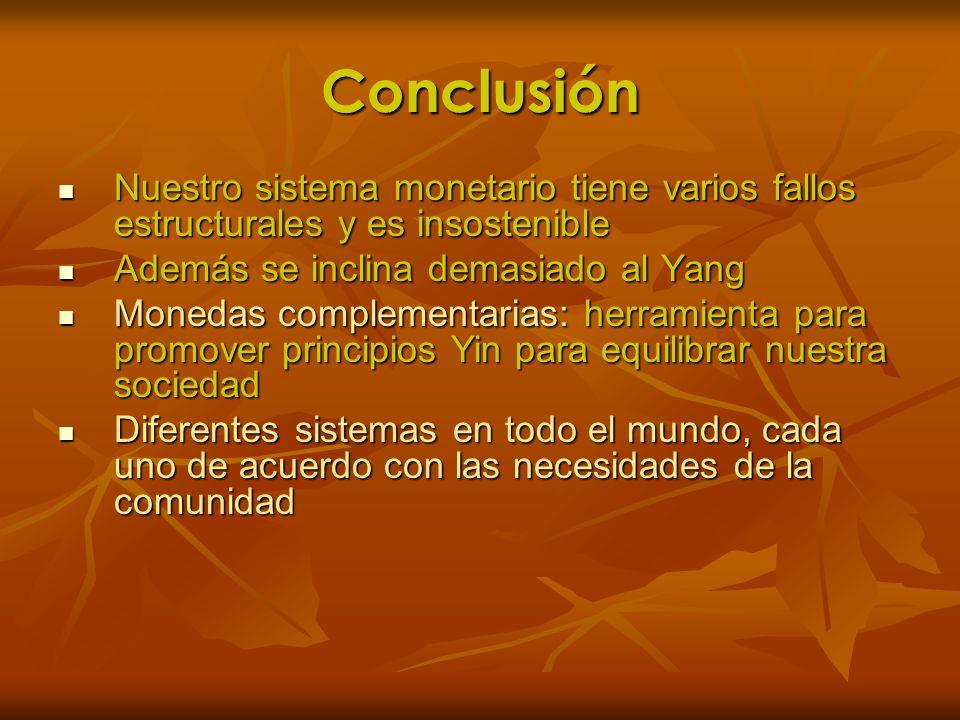 Conclusión Nuestro sistema monetario tiene varios fallos estructurales y es insostenible. Además se inclina demasiado al Yang.