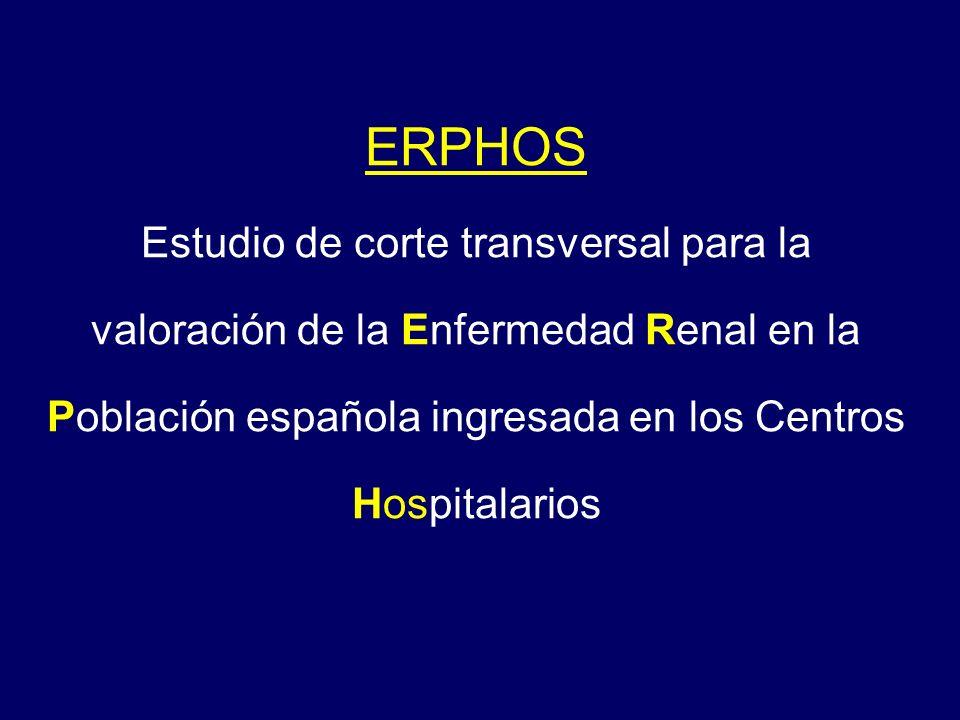 ERPHOS Estudio de corte transversal para la valoración de la Enfermedad Renal en la Población española ingresada en los Centros Hospitalarios.